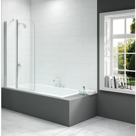 Merlyn 900x1500mm 2-Panel Curved Folding Bath Screen