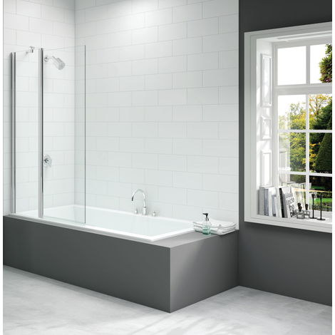Merlyn 900x1500mm 2-Panel Square Folding Bath Screen