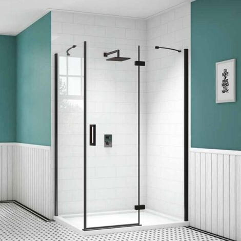 Merlyn Black Frameless Inline Hinged Shower Door with Tray 1200mm Wide - 8mm Glass
