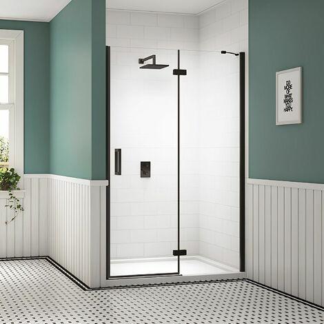 Merlyn Black Inline Recess Hinged Shower Door 1000mm Wide - 8mm Glass