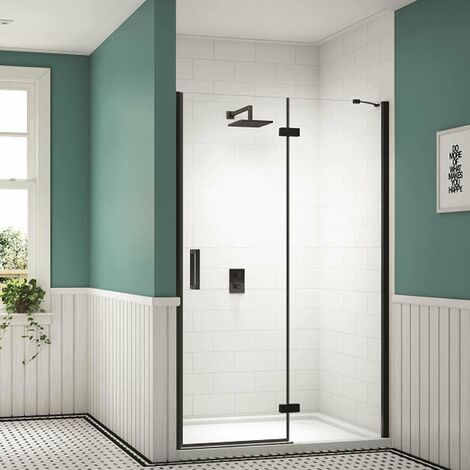 Merlyn Black Inline Recess Hinged Shower Door 1400mm Wide with Tray - 8mm Glass