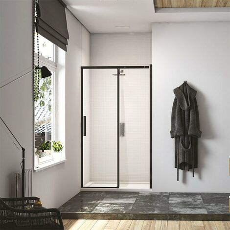 Merlyn Black Sliding Shower Door 2000mm H x 1200mm W - Clear Glass