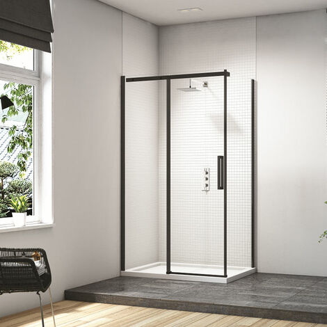 Merlyn Black Sliding Shower Door 2000mm H x 1700mm W - Clear Glass