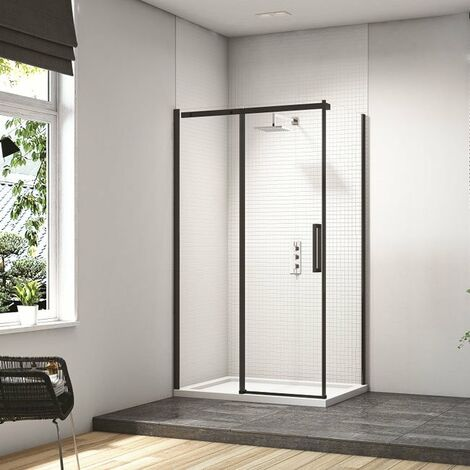 Merlyn Black Sliding Shower Door with MStone Tray 1400mm Wide - Clear Glass