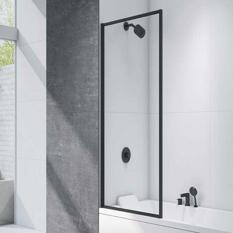 Merlyn Black Square Hinged Bath Screen 1500mm H x 800mm W - 8mm Glass