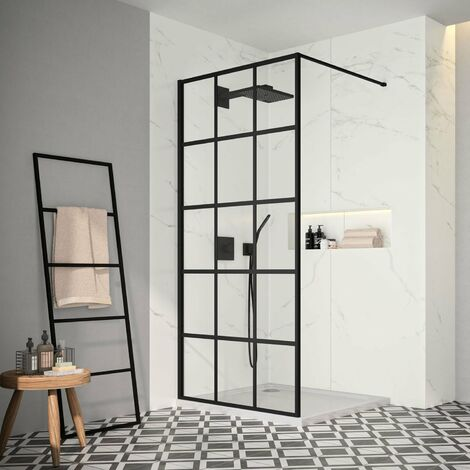 Merlyn Black Squared Showerwall 1200mm Wide 8mm Glass - Including Tray