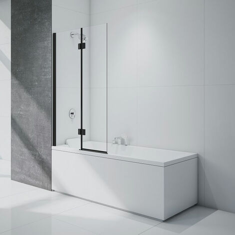 Merlyn Black Two Panel Square Bath Screen 1500mm H x 900mm W Left Handed - 8mm Glass