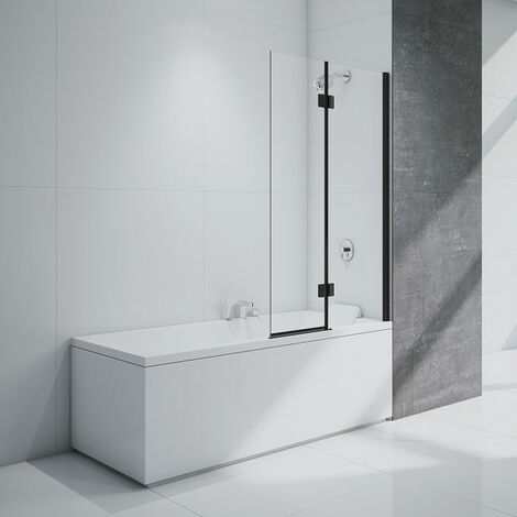 Merlyn Black Two Panel Square Bath Screen 1500mm H x 900mm W Right Handed - 8mm Glass