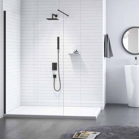 Merlyn Black Wet Room Glass Panel with Shower Tray 1100mm Wide - 8mm Glass