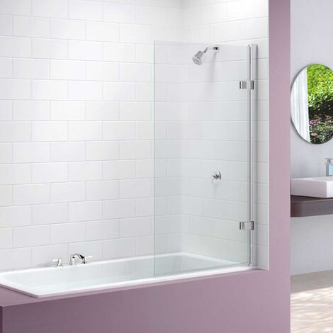 Merlyn Hinged Square Bath Screen, 1500mm High x 850mm Wide, Clear Glass