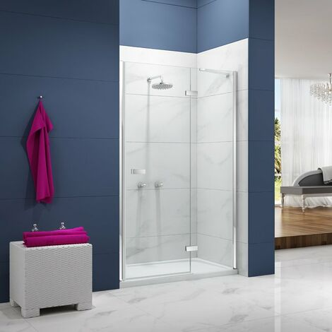Merlyn Ionic Essence Hinged Shower Door and Inline Panel, 900mm Wide, 8mm Glass