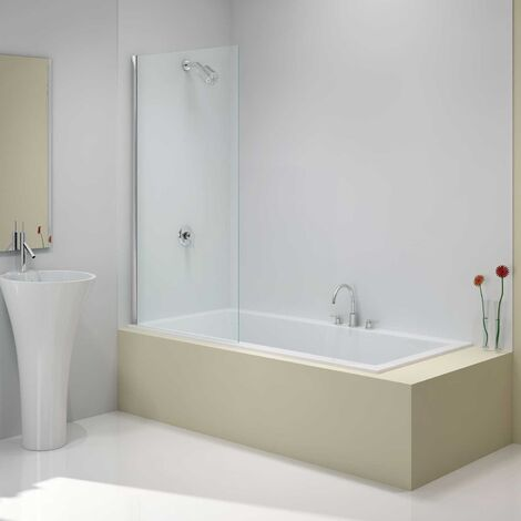 Merlyn Ionic Fixed Square Bathscreen, 800mm x 1500mm, 6mm Glass