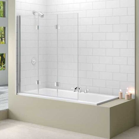 Merlyn Ionic Three Panel Folding Bath Screen, 1500mm H x 1400mm W, 8mm Glass
