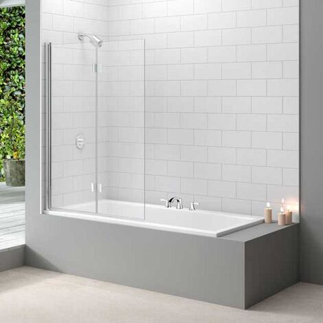 Merlyn Ionic Two Panel Folding Bath Screen, 1100mm x 1500mm, 8mm Glass