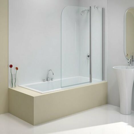 Merlyn Ionic Two Panel Folding Curved Bath Screen, 900mm x 1500mm, 6mm Glass