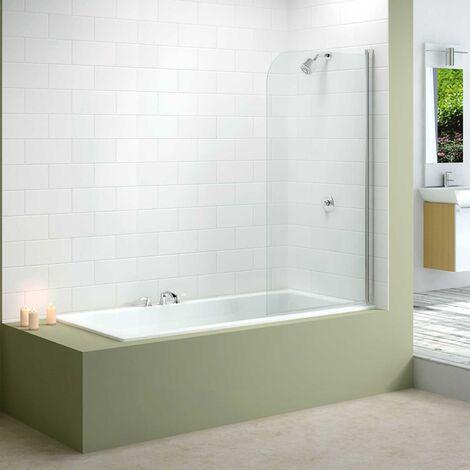 Merlyn Mbox Single Curved Bath Screen, 1500mm High x 800mm Wide, Clear Glass