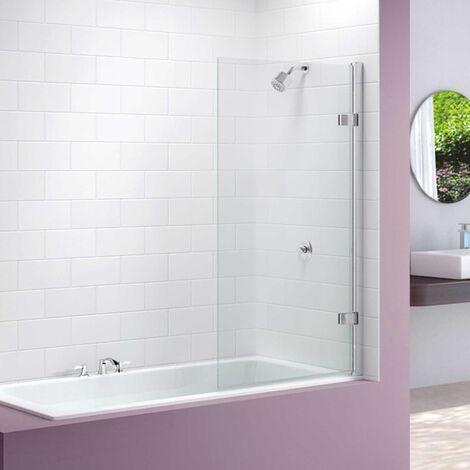 Merlyn Square Hinged Bath Screen 1500mm H x 850mm W - Clear Glass