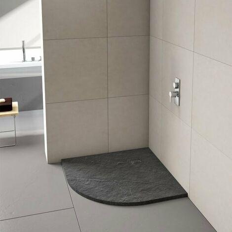 Merlyn TrueStone Quadrant Shower Tray with Waste 900mm x 900mm - Slate Black