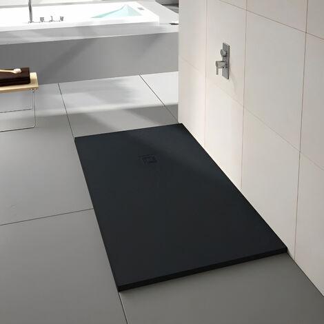 Merlyn TrueStone Rectangular Shower Tray with Waste 1200mm x 800mm - Pure Black