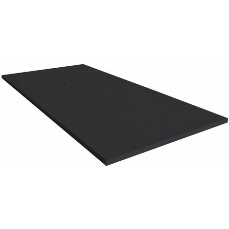 Merlyn TrueStone Rectangular Shower Tray with Waste 1400mm x 900mm - Pure Black