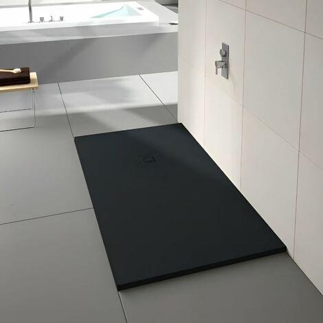 Merlyn TrueStone Rectangular Shower Tray with Waste 1600mm x 900mm - Pure Black
