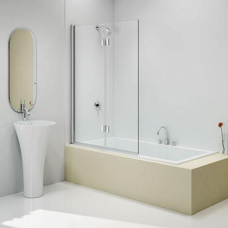 "main image of ""Merlyn Two Folding Bath Screen 1500mm H x 1100mm W - 6mm Clear Glass"""