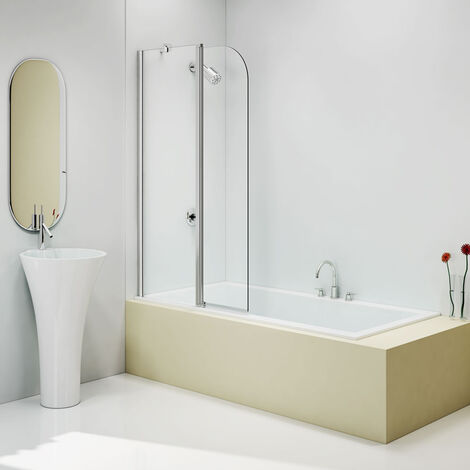 Merlyn Two Panel Round Top Hinged Bath Screen 1500mm H x 900mm W - 6mm Clear Glass