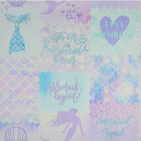 Mermaid Glitter Wallpaper Kids Bedroom Holden Teal Purple Pink Sea Shell
