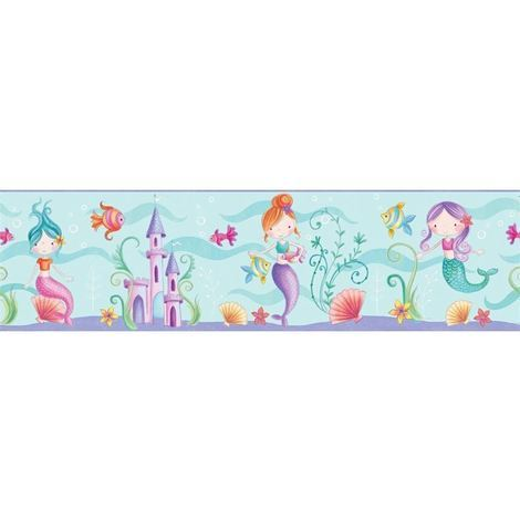 Mermaid Sea Life Ocean Wallpaper Border Childrens Bedroom Play Room Fun 4 Walls