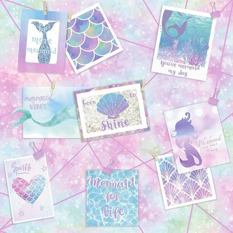 Mermaid Wallpaper Collage Photographs Love Hearts Shells Scales Glitter Holden