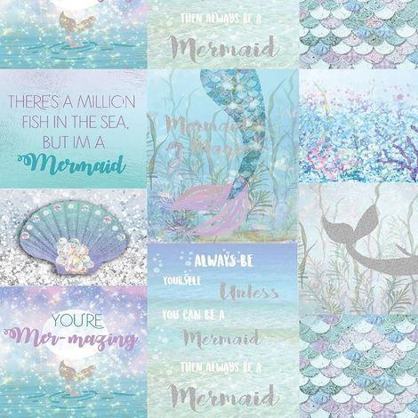 Mermazing Collage Calligraphy Mermaid Shells Glitter Wallpaper Ice Blue Arthouse