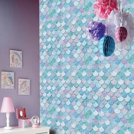 Mermazing Quality Wallpaper Ice Blue Scales Mermaid Glitter Sparkly Arthouse