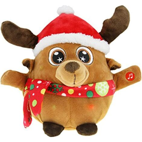 """main image of """"Merry Christmas Decoration Animated Musical Santa Claus Elk Figurine LED Glowing Soft Plush Stuffed Doll Singing Christmas Puppet Toy Fireplace Home Desktop Decorations Ornament Xmas Holiday"""""""
