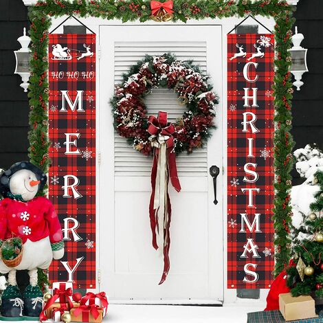 """main image of """"Merry Christmas Decorations Banner, Christmas Porch Sign Red Plaid Hanging Banners for Indoor Outdoor Front Door Wall Xmas Christmas Decoration"""""""