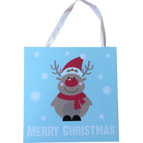 Merry Christmas Wall Plaque with Fun Reindeer Decal