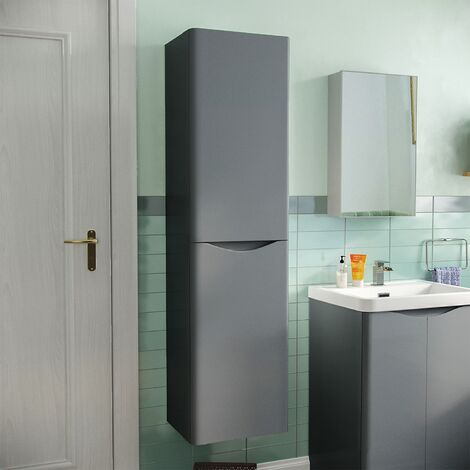 Merton Bathroom 1500mm Grey Wall Hung Furniture Tall Storage Cabinet Unit