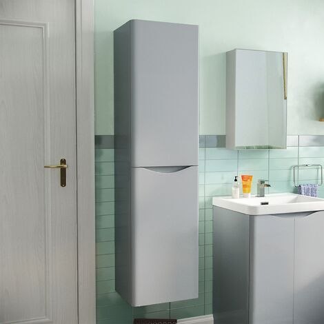 Merton Bathroom 1500mm Light Grey Wall Hung Furniture Tall Storage Cabinet Unit
