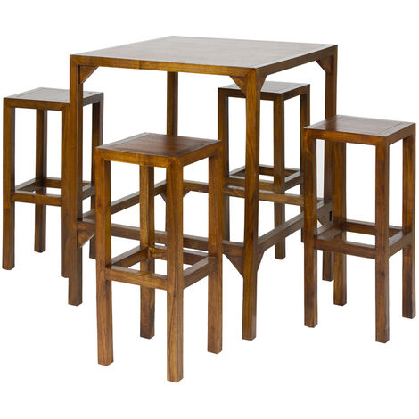 Mesa alta con 4 taburetes 80x80x80 cm