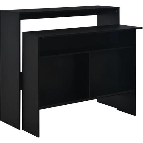 Mesa alta de cocina con 2 encimeras negra 130x40x120 cm