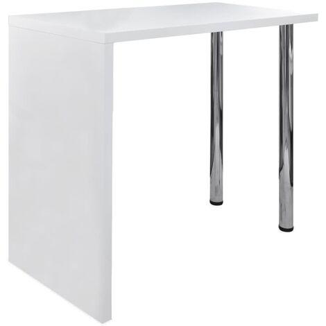 Mesa alta de cocina de MDF y 2 patas de acero blanco con brillo