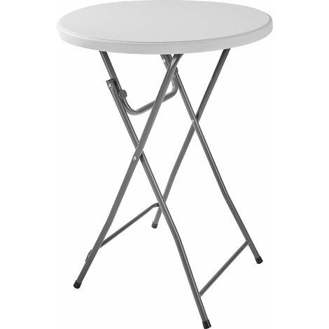 Mesa alta Pascal - mesa elegante auxiliar, mesa alta con estructura de acero para eventos, mesa de exterior para catering - blanco