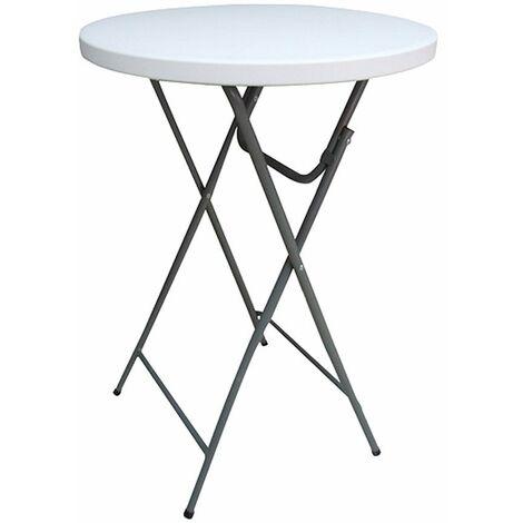Mesa alta plegable, mesa de comedor redonda, mesas de cerveza, Bistro Gastro, decoración de granito, resistente a la intemperie, acero, DxH 81x110 cm