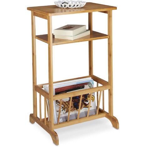 """main image of """"– Mesa auxiliar con cesta para periódicos, bambú, 71.5 x 44.5 x 37 cm, 2 estantes, marrón natural"""""""