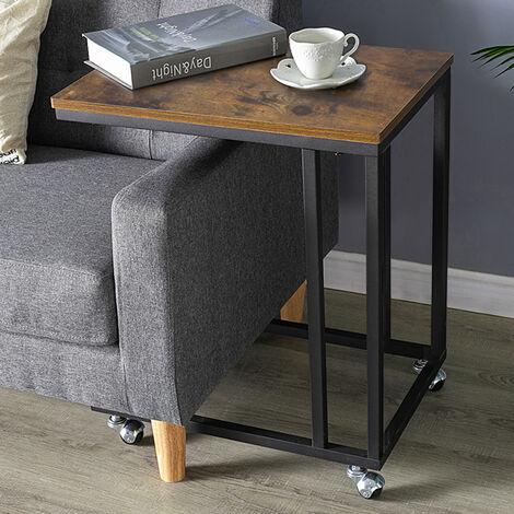 Mesa Auxiliar con ruedas Mesita de Noche Mesa de Ordenador mesa de café al Lado de Cama Sofá en Sala de Estar Dormitorio Escritorio 50x35x60cm