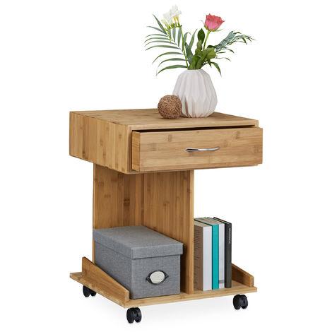 – Mesa auxiliar con ruedas ROLLI, hecho de bambú, 56.5 x 43 x 46 cm, 2 depósitos para libros y 1 cajón, madera, cómoda para el dormitorio, color natural