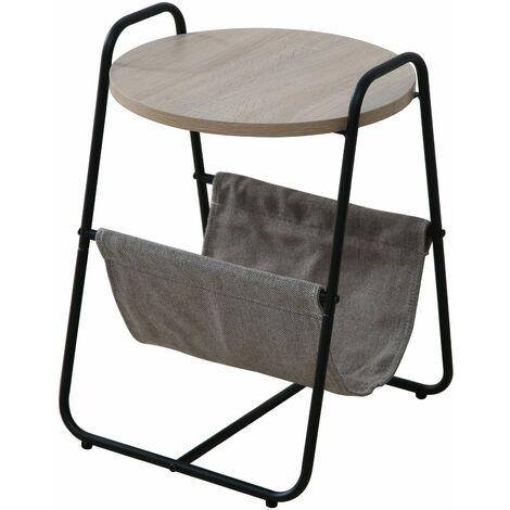 Mesa auxiliar de café,40*40*55cm - Negro y Madera