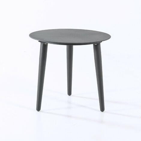 Mesa Auxiliar de Exterior Redonda | Diámetro: 50 cm | Altura: 45 cm | Aluminio Color Gris