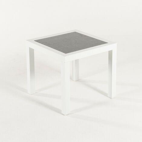 Mesa auxiliar de jardín, Tamaño: 50x50x45 cm, Aluminio reforzado color blanco, Tablero de cristal templado estilo cerámica