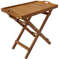Mesa auxiliar de madera exótica Calcuta- Maple - Marrón claro - Bandeja de servicio