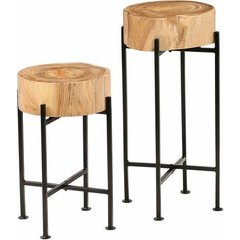 Mesa auxiliar de madera maciza de acacia 2 unidades